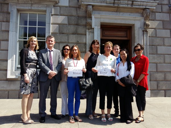 Outside Leinster House with Sen Maire Devine